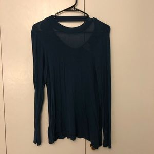 Blue long sleeve with open back